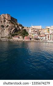 View of the village from the sea with the castle of Ruffo di Calabria, Scilla, district of Reggio Calabria, Calabria, Italy, Europe