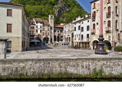 View of the village of Serravalle, Vittorio Veneto. 23 April 2017 Vittorio Veneto, Treviso - Italy