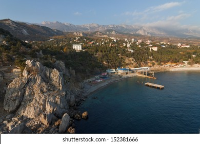 View of the village Simeiz on the southern coast of Crimea