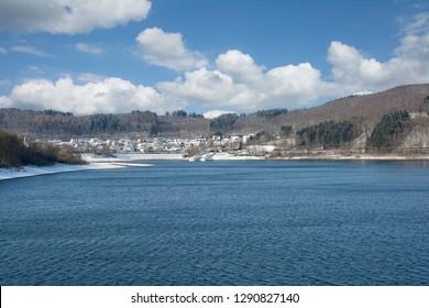 View to Village of Sondern at Biggesee Reservoir,Sauerland,North rhine westphalia,Germany