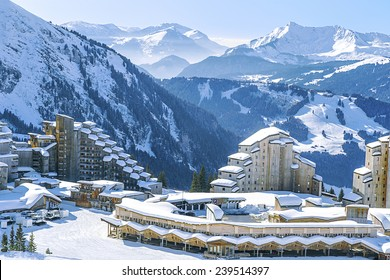 View of the village and the surrounding area Avoriaz mountains.