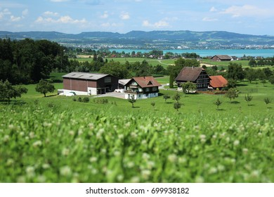 View of the village in Switzerland from the hill.