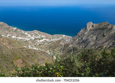 View to the village of Taganana in the Anaga Mountains in the north of Tenerife, Spain from an observation point.