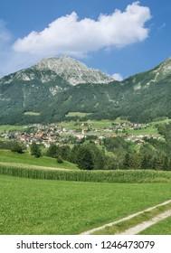 View to Village of Telfes im Stubai in Stubaital,Tirol,Austria