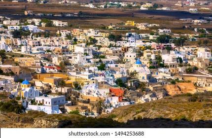 View of the Village of Vothonas on the Beautiful Island Santorini, Greece