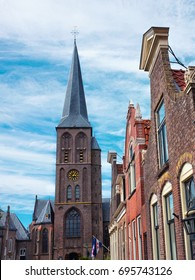 View of village of Workum in Friesland province, The Netherlands