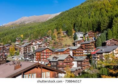 View of village  Zermatt, Switzerland.