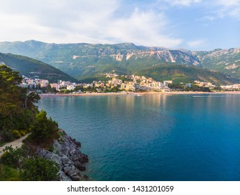 View of the villages of Rafailovici and Becici from the sea, Montenegro