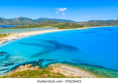 A view of Villasimius beach on Sardinia island, Italy
