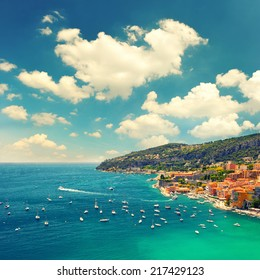 View of Villefranche by Nice, french riviera, Cote d'Azur. Retro style toned picture