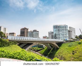 View of the Villena Rey bridge in MIraflores, Lima