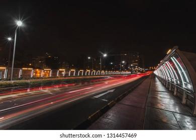 View of Villena Rey bridge in Miraflores district in Lima, Peru long exposure