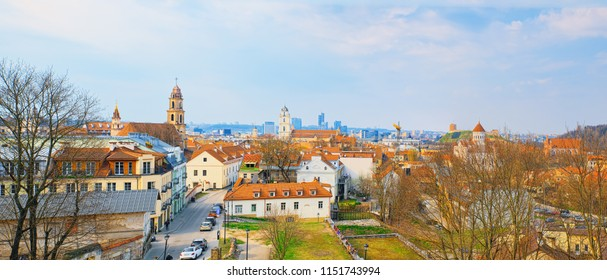 View of Vilnius from the hill of Three Crosses point of view to the  Vilnius City. Lithuania.