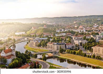 A view of Vilnius Old Town at sunrise