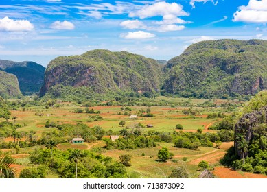 View of the Vinales valley, Pinar del Rio, Cuba. Copy space for text