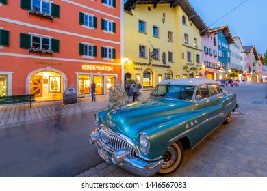 View of vintage car on Vorderstadt at dusk, Kitzbuhel, Austrian Tyrol Region, Austria, Europe 1-5-2019