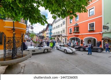 View of vintage car rally Vorderstadt, Kitzbuhel, Austrian Tyrol Region, Austria, Europe 1-5-2019
