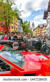 View of vintage car rally Vorderstadt, Kitzbuhel, Austrian Tyrol Region, Austria, Europe 1-5-2919