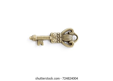 View at vintage metal key isolated on the white background