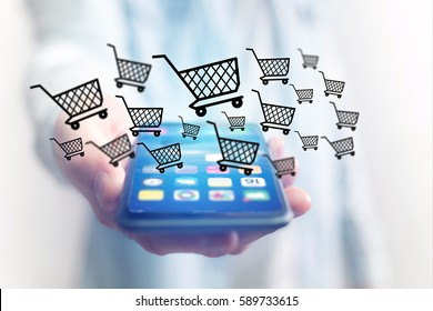 View of Virtual trolley going out of a smartphone - shopping online concept