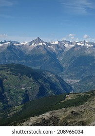 View Of Visp And The Bietschhorn, Valais, Switzerland