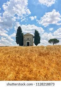 View of the Vitaleta Chapel in San Quirico di Orcia, Tuscany