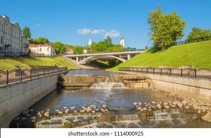 View of the Vitba River and Pushkin Bridge in the Belarusian city of Vitebsk. Belarus, Vitebsk. May 19, 2018
