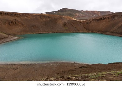 View of Viti crater at krafla geothermal area iceland
