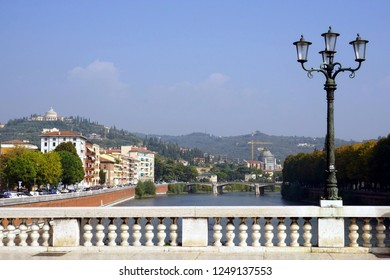 A view from Vittoria Bridge over Adige river. Verona, Italy