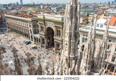 view of Vittorio Emanuele II Gallery and piazza del Duomo from the roof of Duomo in Milan, Italy
