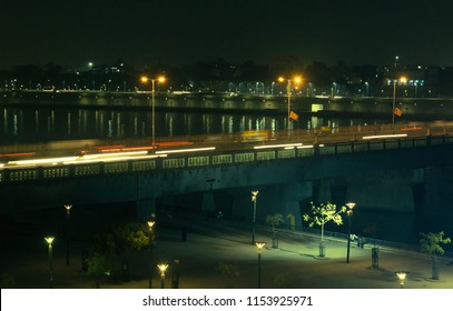 view of vivekanand bridge from sabarmati riverfront, gujrarat india