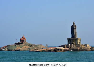 View of Vivekananda rocks and Thiruvalluvar statue from Kanyakumari temple at the southern tip of mainland India at Kanyakumari, India. The statue stands 400 meters from the coastline of Kanyakumari.