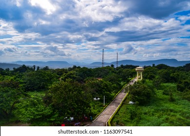 View of Vizag from ghe Dolhphin Hills Lighthouse. A monsoon day with a view of the city, easter ghats and the Dolphin Hill. Andhra Pradesh, India