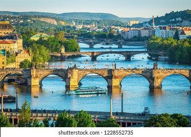 View of the Vltava River and the bridges in the setting sun, Prague, Czech Republic