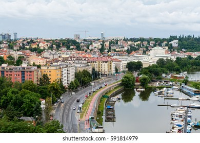 View to the Vltava the river and historical districts from Vysegrad in Prague, Czech Republic at summer with clouds on background
