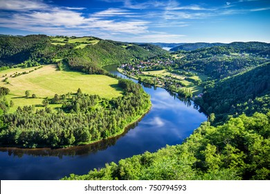 View of Vltava river horseshoe shape meander from Solenice viewpoint, Czech Republic