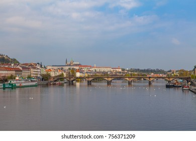 View of Vltava river in Prague and Charles bridge and the Castle, Czech Republic