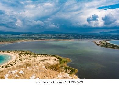 View of Voidokilia Beach and the Divari lagoon in the Peloponnese region of Greece, from the Palaiokastro (old Navarino Castle).