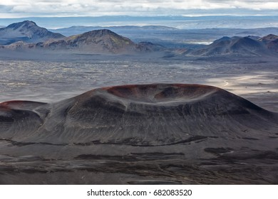 View of volcanic crater on a background of mountains in Iceland