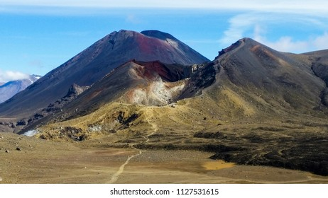 View of the volcanic Mount Doom ridge, Tongariro National Park, New Zealand