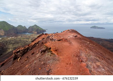 View from volcano Eldfell at Westman Islands, Iceland