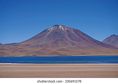 View of the volcano near the lagoon Miscanti and Miniques, Atacama, Chile