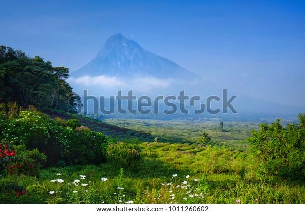 Vue d'un volcan dans le parc national des Virunga en République démocratique du Congo, Afrique