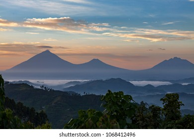 View of Volcanoes National Park in Congo seen from Uganda