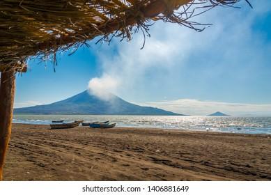 View at the Volcanos Momotombo and Momotombito with Xolotlan lake - Nicaragua
