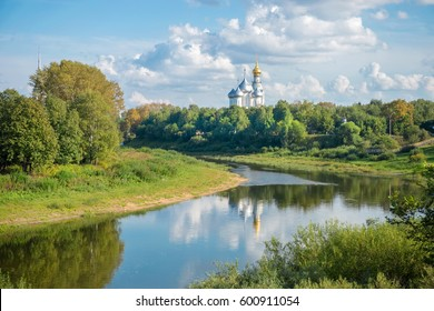 View of the Vologda Kremlin from the river. Russia, Vologda region, Vologda