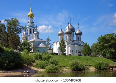 View from Vologda river on Belfry, Church of Alexander Nevsky and Saint Sophia Cathedral, Vologda, Russia