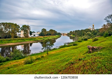 View of the Vologda River and St. Sophia Cathedral with a bell tower. Vologda. Russia
