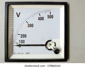 View of voltage meter or voltmeter panel with metering up to 500 voltage (V).