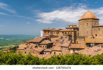 View of the Volterra, in Tuscany, with landscape in background